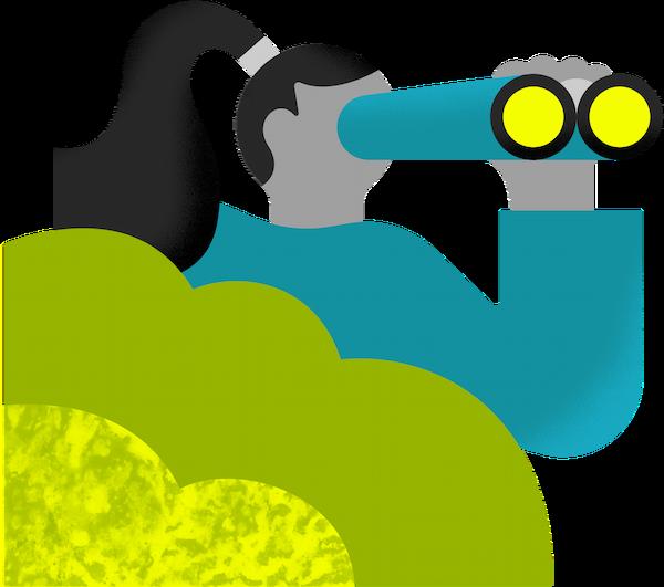 Illustration of a lady looking through binoculors
