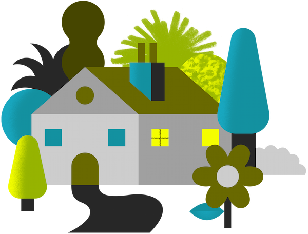 Illustration of a house with surrounding plants